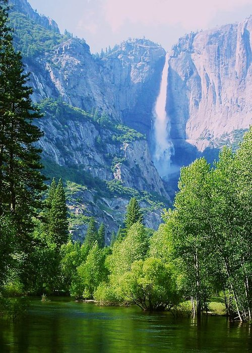 Merced River Greeting Card featuring the photograph Yosemite Falls And Merced River by Eric Tressler