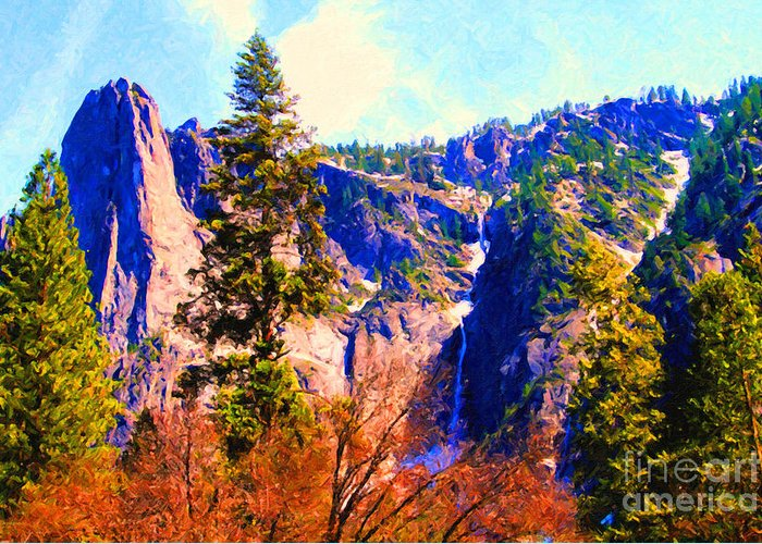 Landscape Greeting Card featuring the photograph Yosemite In The Fall . 7d6287 by Wingsdomain Art and Photography