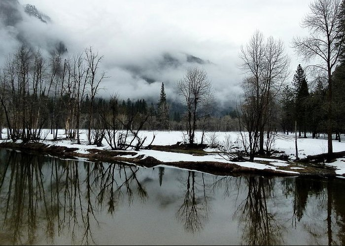 Yosemite In Winter Greeting Card featuring the photograph Yosemite River View In Snowy Winter by Jeff Lowe
