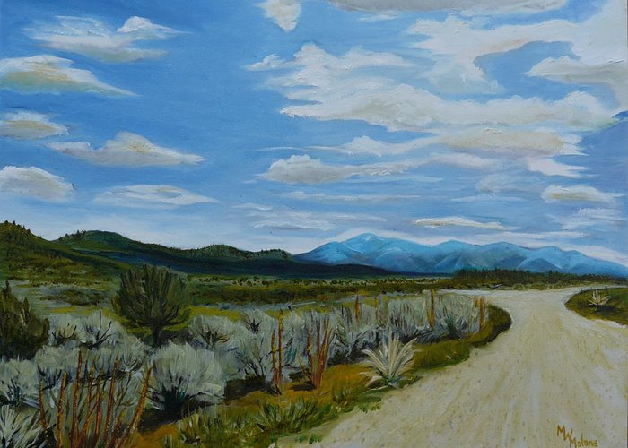 New Mexico Landscape Greeting Card featuring the painting You Take The High Road.... by Mark Malone