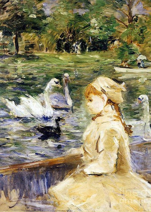 Young Girl Boating Greeting Card featuring the painting Young Girl Boating by Berthe Morisot