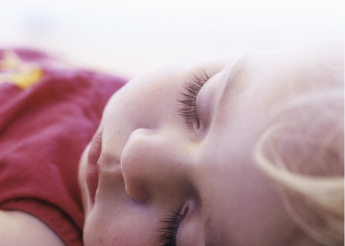 Face Greeting Card featuring the photograph Young Girl Sleeping by Cristina Pedrazzini