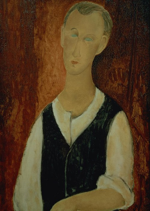 Portrait; Male; Elongation; Blue Eyes Greeting Card featuring the painting Young Man With A Black Waistcoat by Amedeo Modigliani
