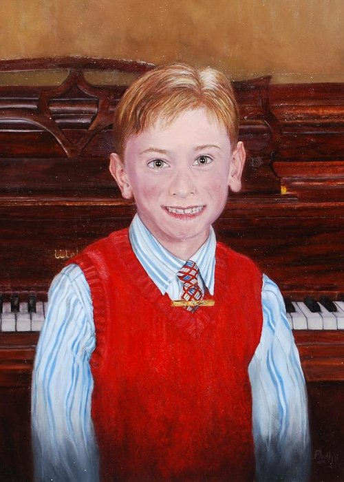 Boy Greeting Card featuring the painting Young Piano Student by Phyllis Barrett