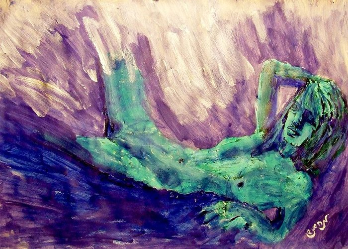 Statue Of Liberty Greeting Card featuring the painting Young Statue Of Liberty Falling From Grace Female Figure Portrait Painting In Green Purple Blue by MendyZ M Zimmerman