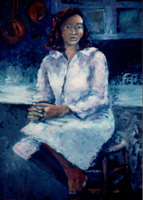 Bettye Harwell Women Greeting Card featuring the painting Young Woman by Bettye Harwell