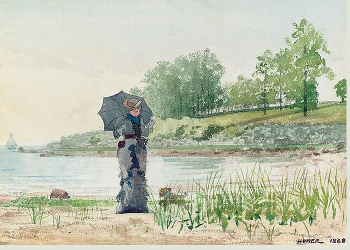 Young Woman Greeting Card featuring the painting Young Woman by Winslow Homer