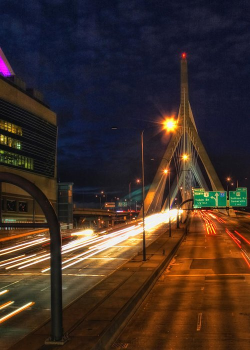 Bridge Greeting Card featuring the photograph Zakim Bridge At Night by Joann Vitali