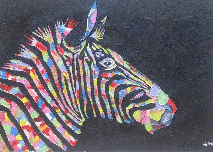 Zebra Greeting Card featuring the painting Zebra by Rejeena Niaz