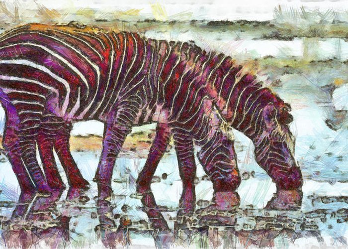 Rossidis Greeting Card featuring the painting Zebras by George Rossidis