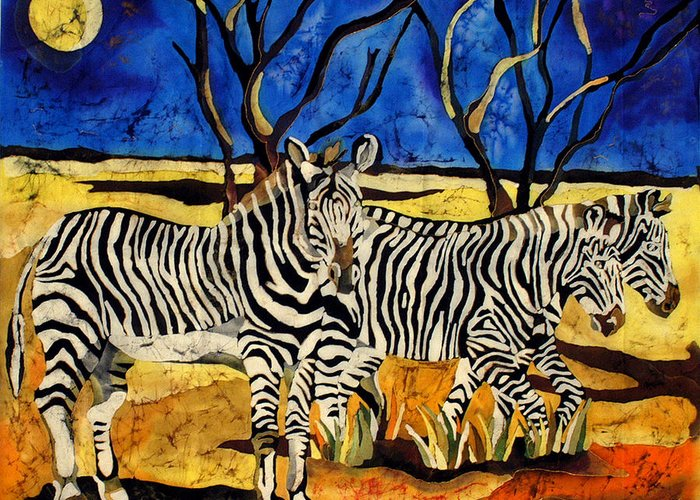 Batik Greeting Card featuring the tapestry - textile Zebras by Sandra Kern