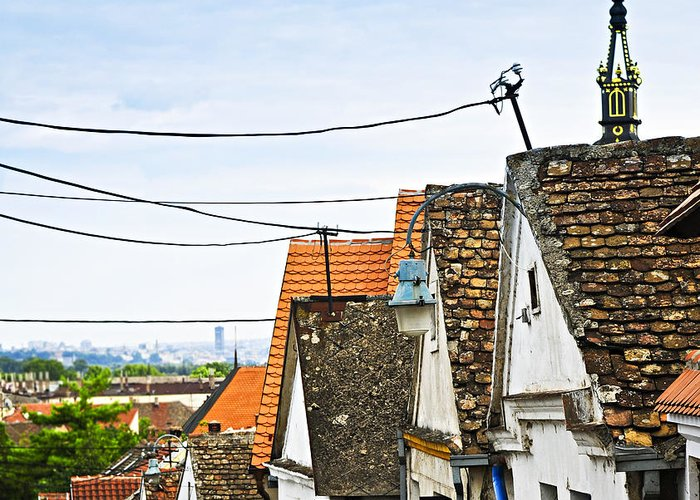 Roofs Greeting Card featuring the photograph Zemun Rooftops In Belgrade by Elena Elisseeva