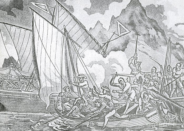 History Greeting Card featuring the Zheng Yis Pirates Capture John Turner by Photo Researchers