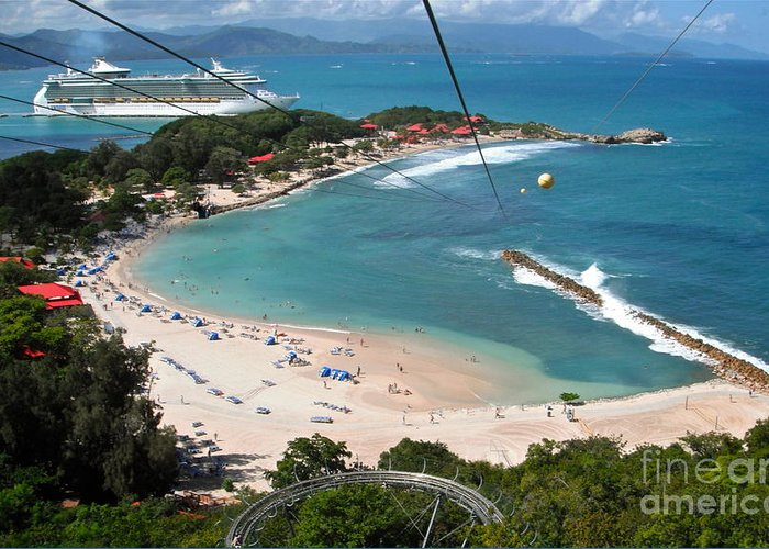 Zip Line Greeting Card featuring the photograph Zip Line In Labadee by Carol Bradley