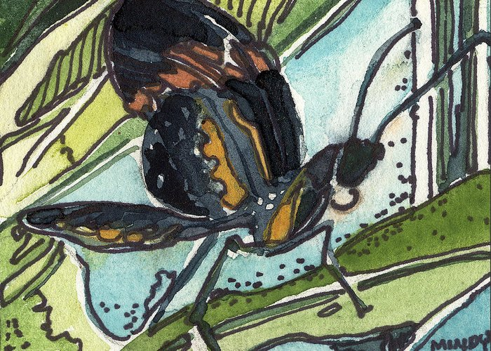 Butterfly Greeting Card featuring the painting Zippy The Butterfly by Mindy Newman