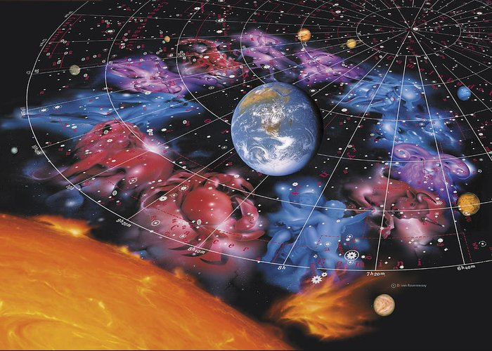 Solar System Greeting Card featuring the photograph Zodiac Signs by Detlev Van Ravenswaay