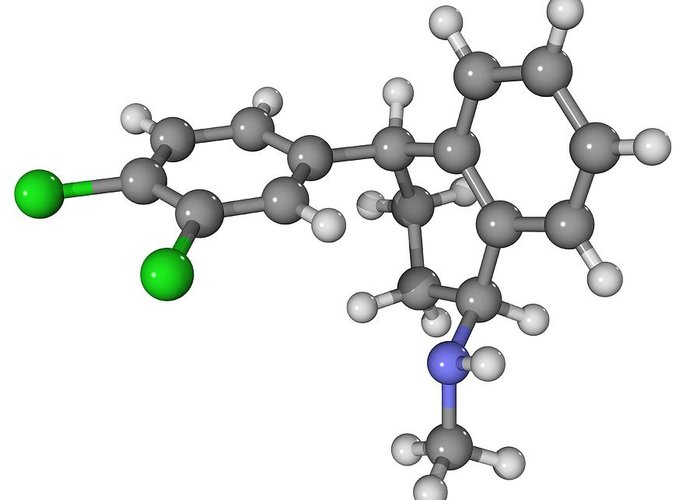 Molecular Greeting Card featuring the photograph Zoloft Antidepressant Drug Molecule by Laguna Design