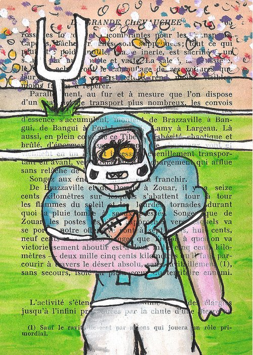 Zombie Greeting Card featuring the painting Zombie Football by Jera Sky
