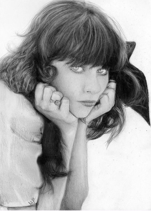 Nat Morley Greeting Card featuring the drawing Zooey Deschanel by Nat Morley