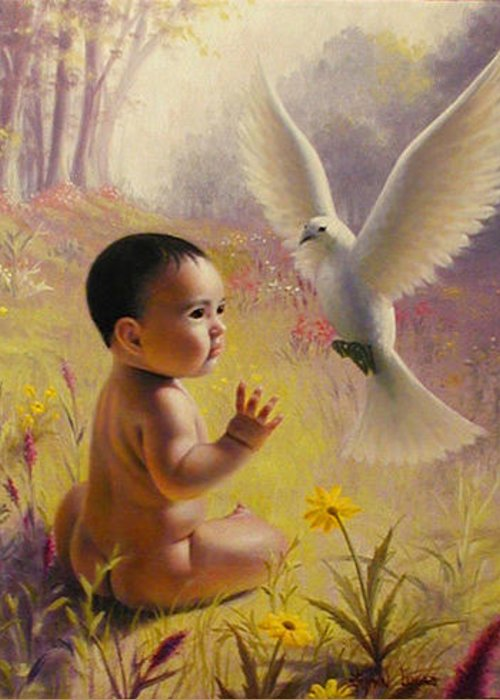 Baby Greeting Card featuring the painting  Peace  Weaver by Stephen Lucas