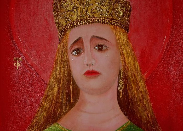 Portrait Prints Greeting Card featuring the painting  St.martha by Teo Santa