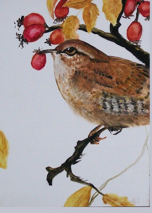 Painting Greeting Card featuring the painting  Wren by Pamela Wilson