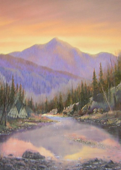 Landscape Greeting Card featuring the painting 060526-2024 Times Past  by Kenneth Shanika