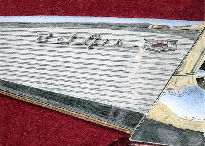 Classic Greeting Card featuring the drawing 1957 Chevrolet Bel Air Convertible by Rob De Vries