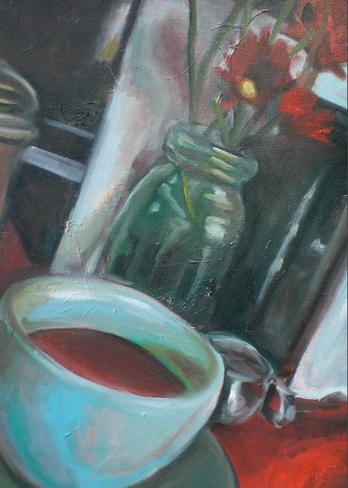 Diner Greeting Card featuring the painting A Cup Of Joe by Aleksandra Buha