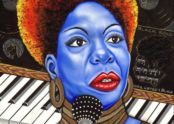 Blue Painting Greeting Card featuring the painting A Part Of Nina Simone by Nannette Harris