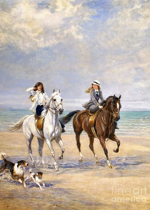 Heywood Hardy - A Ride By The Sea Greeting Card featuring the painting A Ride By The Sea by MotionAge Designs