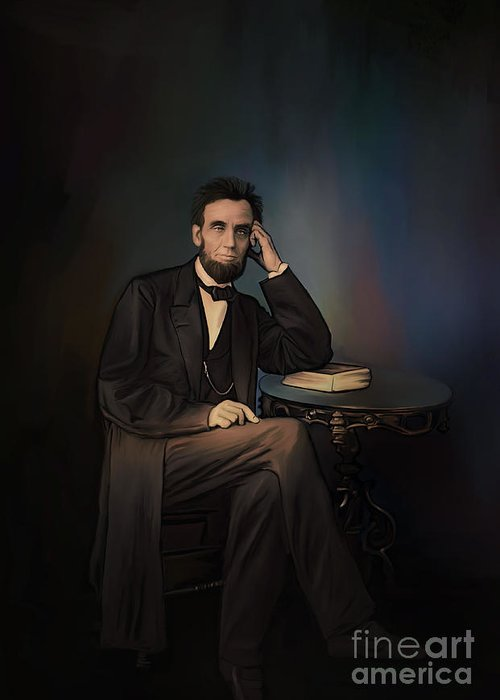 Abraham Greeting Card featuring the painting Abraham Lincoln by Andrzej Szczerski
