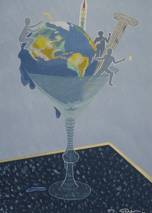Earth Greeting Card featuring the painting ... And Who Will Pay The Bill by Ingrid Stiehler