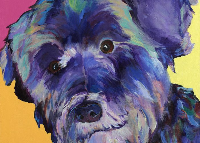 Schnauzer Acrylic Painting Greeting Card featuring the painting Beau by Pat Saunders-White