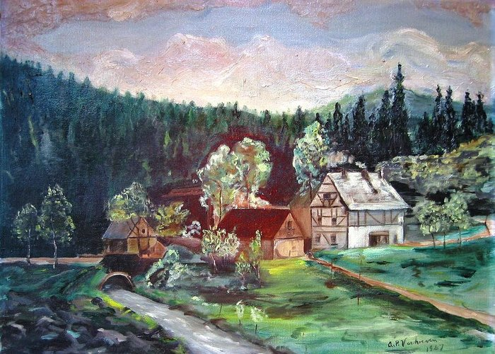 Schwartzwald Jaeger (hunter) Haus Greeting Card featuring the painting Black Forest Germany by Alfred P Verhoeven