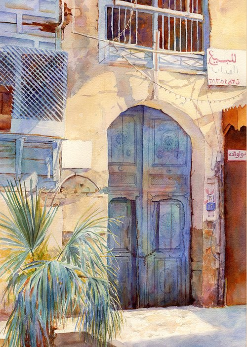 Architecture Greeting Card featuring the painting Blue Door by Dorothy Boyer