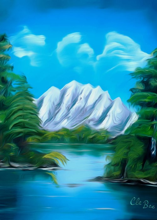 Canada Greeting Card featuring the painting Blue Lake Mirror Reflection Dreamy Mirage by Claude Beaulac