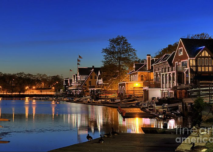 Philadelphia Greeting Card featuring the photograph Boathouse Row by John Greim