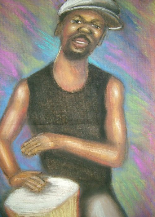 Drawing Greeting Card featuring the drawing ' Bongo Man I by Jan Gilmore
