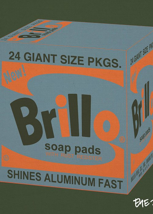 Greeting Card featuring the digital art Brillo Box Colored 16 - Warhol Inspired by Peter Potamus