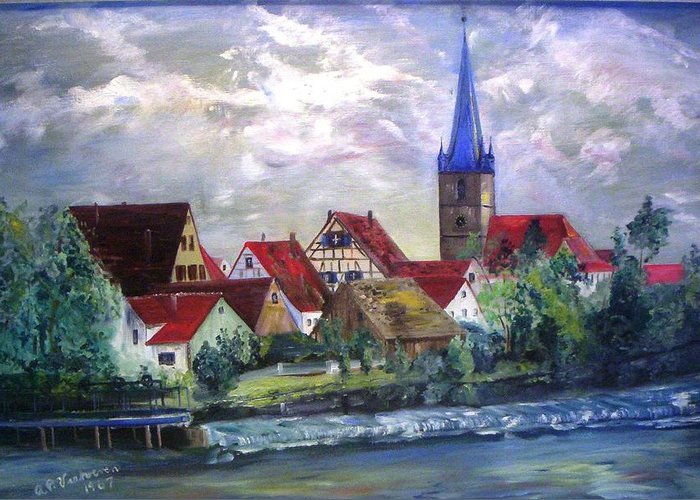 Landscape River Regnitz Church Erlangen Bruck Germany Greeting Card featuring the painting Brucker Kirche by Alfred P Verhoeven