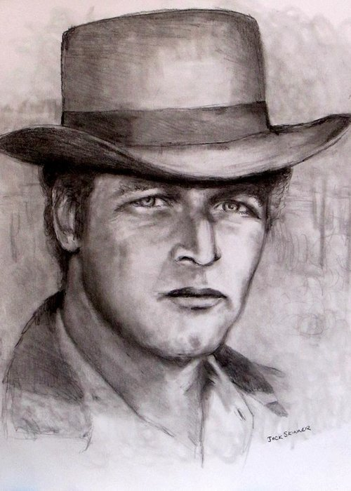 Butch Cassidy Greeting Card featuring the drawing Butch Cassidy by Jack Skinner