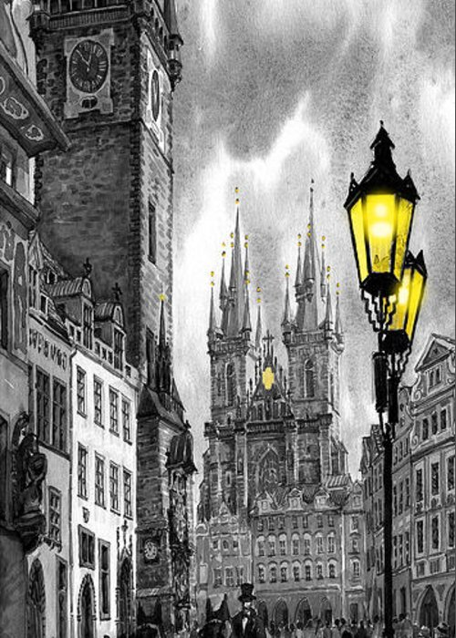 Geelee.watercolour Paper Greeting Card featuring the painting Bw Prague Old Town Squere by Yuriy Shevchuk