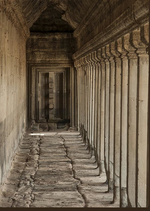 Hallway In Angkor Wat Greeting Card featuring the photograph Closed Door by Nichon Thorstrom