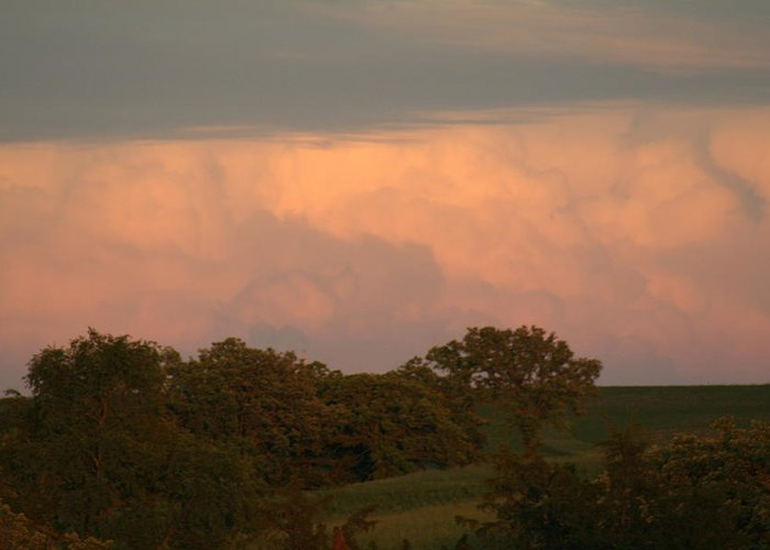 A Very Peaceful Scene Greeting Card featuring the photograph Clouds Of A Distant Storm by Linda Ostby