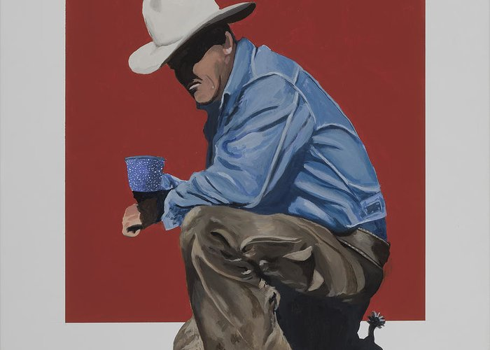 Cowboy Drinking Coffee Greeting Card featuring the painting Coffee Time by Marston A Jaquis