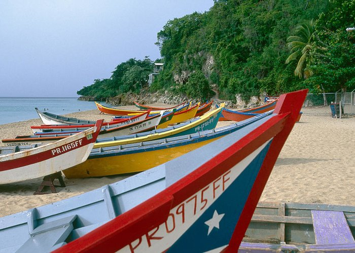 Aquadilla Greeting Card featuring the photograph Colorful Fishing Boats On Crashboat Beach by George Oze