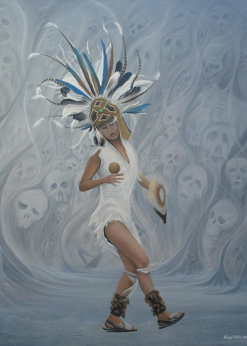 Cultural Panting Greeting Card featuring the painting Conchera En Trance by Angel Ortiz