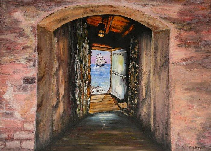 Door Of No Return Greeting Card featuring the painting Door Of No Return by Tony Vegas