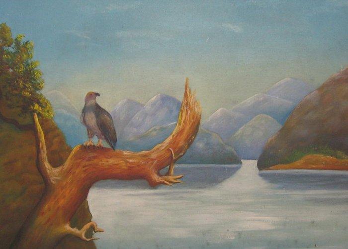 Eagle Bird Of Freedom  Greeting Card featuring the painting Eagle Bird Of Freedom by Severin Titovich Kiyan